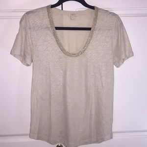 J crew gold metallic shirt beaded neckline t shirt